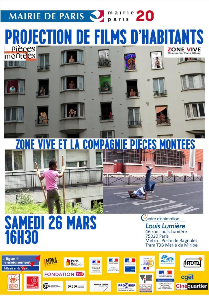 Affiche projections de films Zone Vive et Pièces Montées 2016