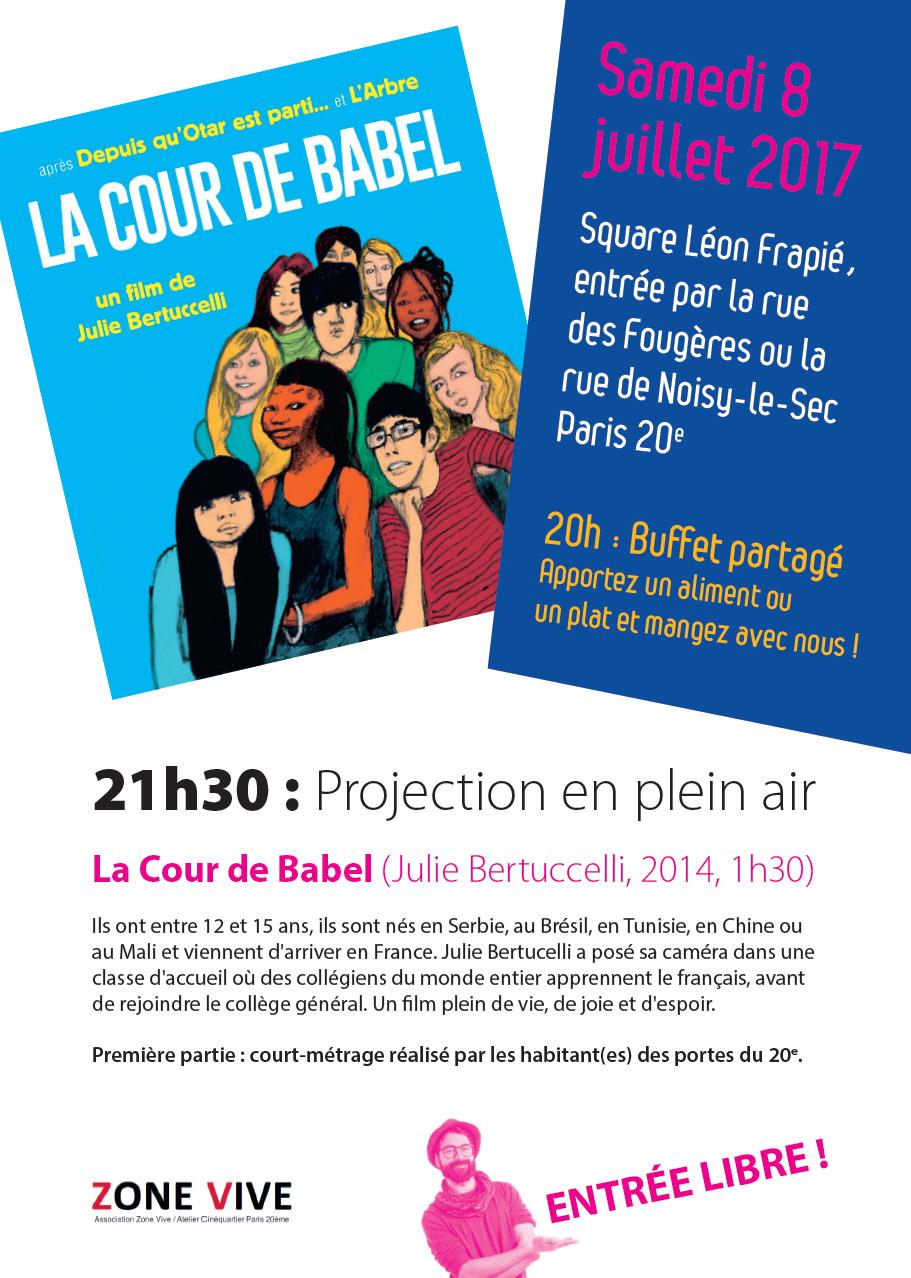 Festival Ciné-Voisin 2017 projection Zone Vive le samedi 8 juillet 2017 Paris 20e