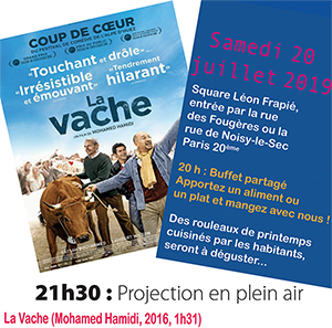 Projectio en plein air du film La Vache au Square Léon Frapié Paris 20ème le 20 juillet 2019