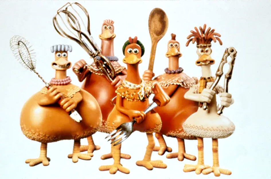Les poules du film d'animation Chicken run